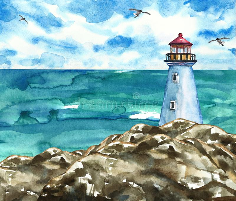 Summer marine artwork with lighthouse on rocks and sea view. Watercolor painting royalty free illustration