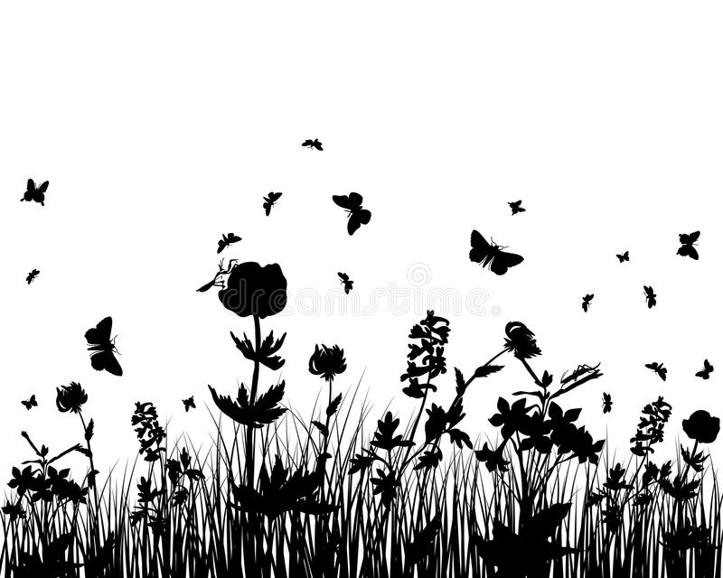 meadow silhouettes stock vector  illustration of garden