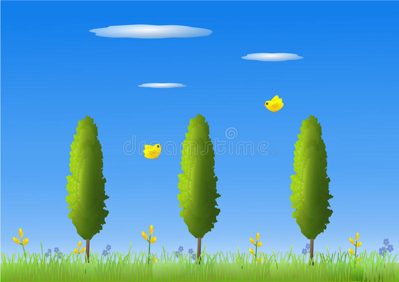 Download Summer meadow stock illustration. Illustration of blue - 24810991