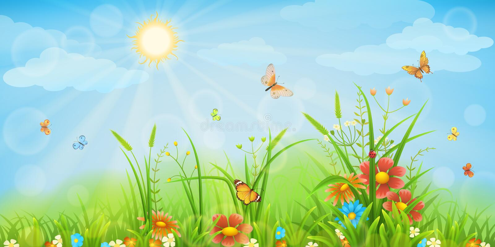 Summer meadow background stock illustration