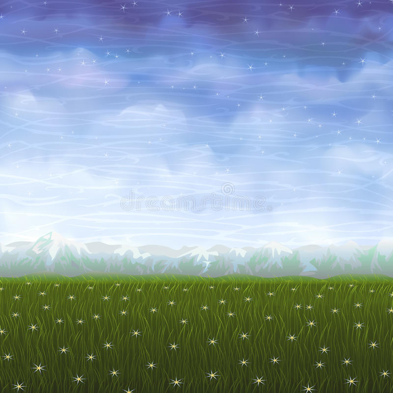 Summer Meadow Covered With White Star Flowers Royalty Free Stock Photo