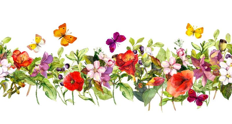 Summer meadow flowers and butterflies. Repeating frame. Watercolor. Floral horizontal border. Watercolor meadow flowers, grass, herbs and, butterflies - seamless