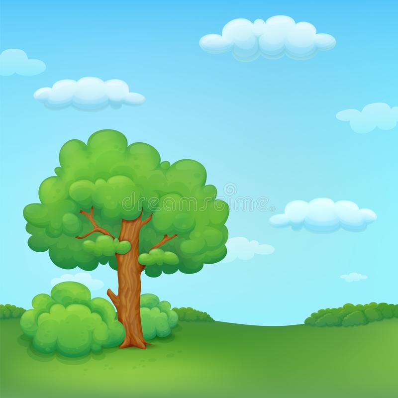 Summer meadow illustration with tree and bushes stock illustration