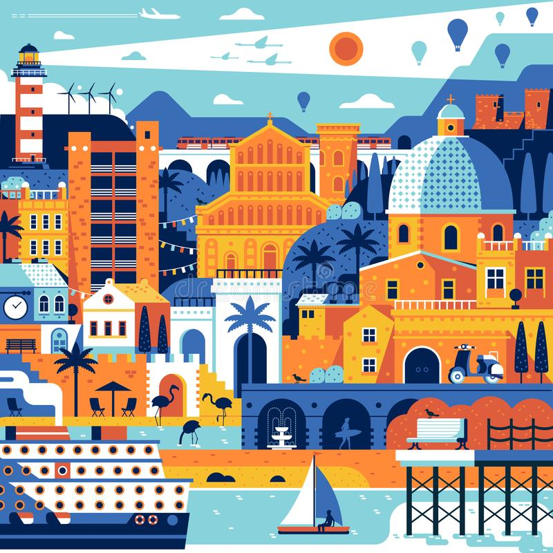 Summer Mediterranean Town Poster. Summer travel island landscape inspired by Cagliari, Sardinia. Abstract sea mediterranean town poster with beach town, cruise vector illustration