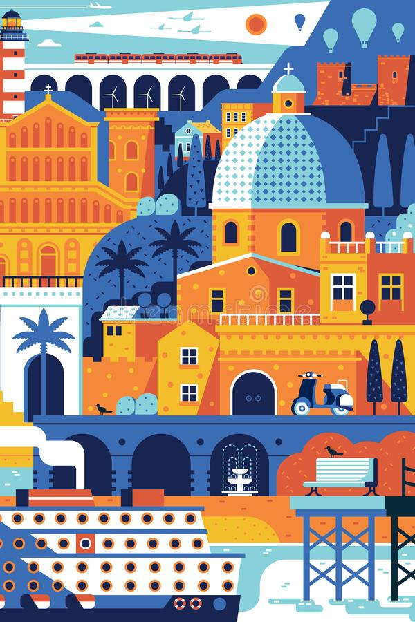 Summer Mediterranean Travel Poster. Summer travel island landscape inspired by Cagliari, Sardinia. Vertical sea mediterranean town poster with beach town, cruise royalty free illustration