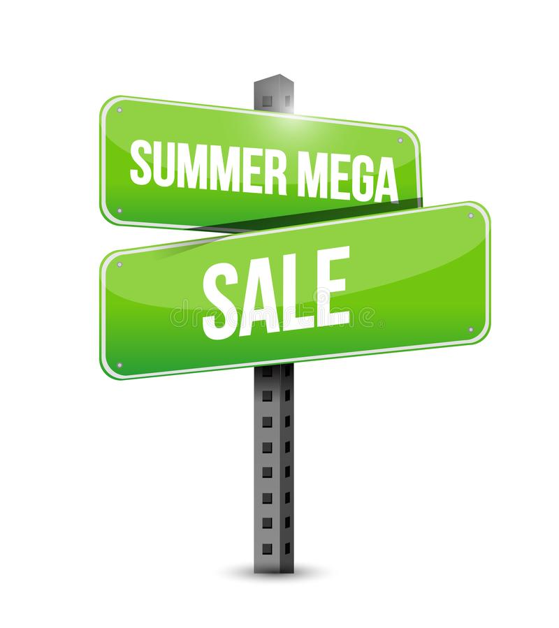 Summer mega sale Street sign message concept illustration isolated. Over a white background vector illustration