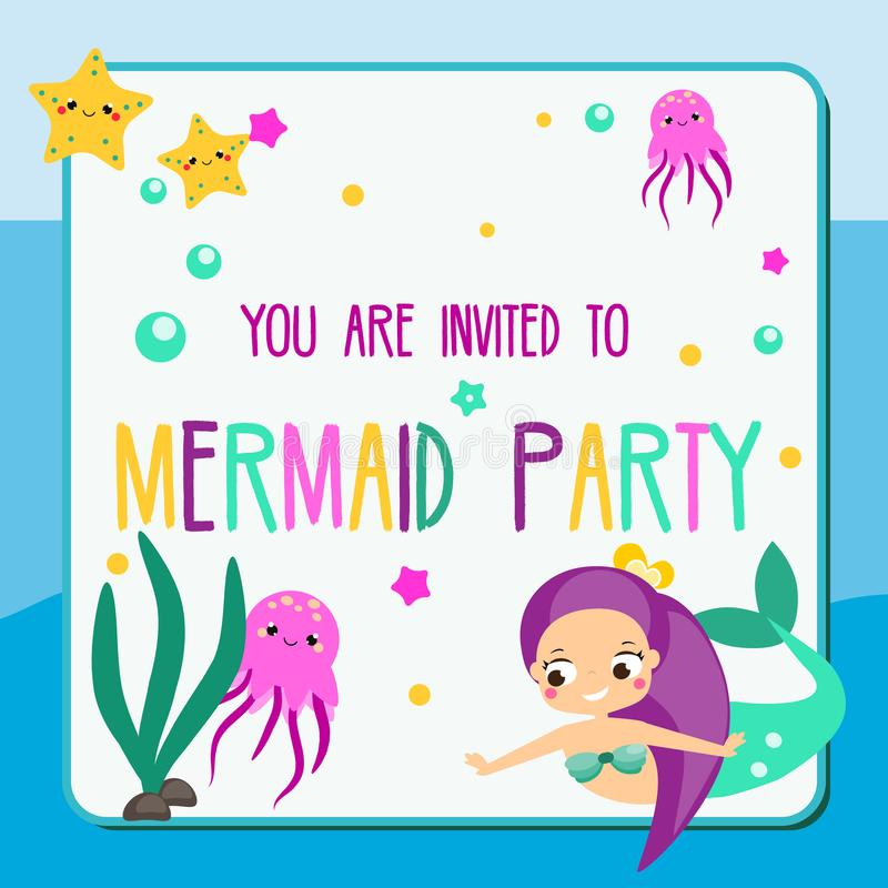 Summer Mermaid Party Flyer. Children Holiday Party Invitation Design ...