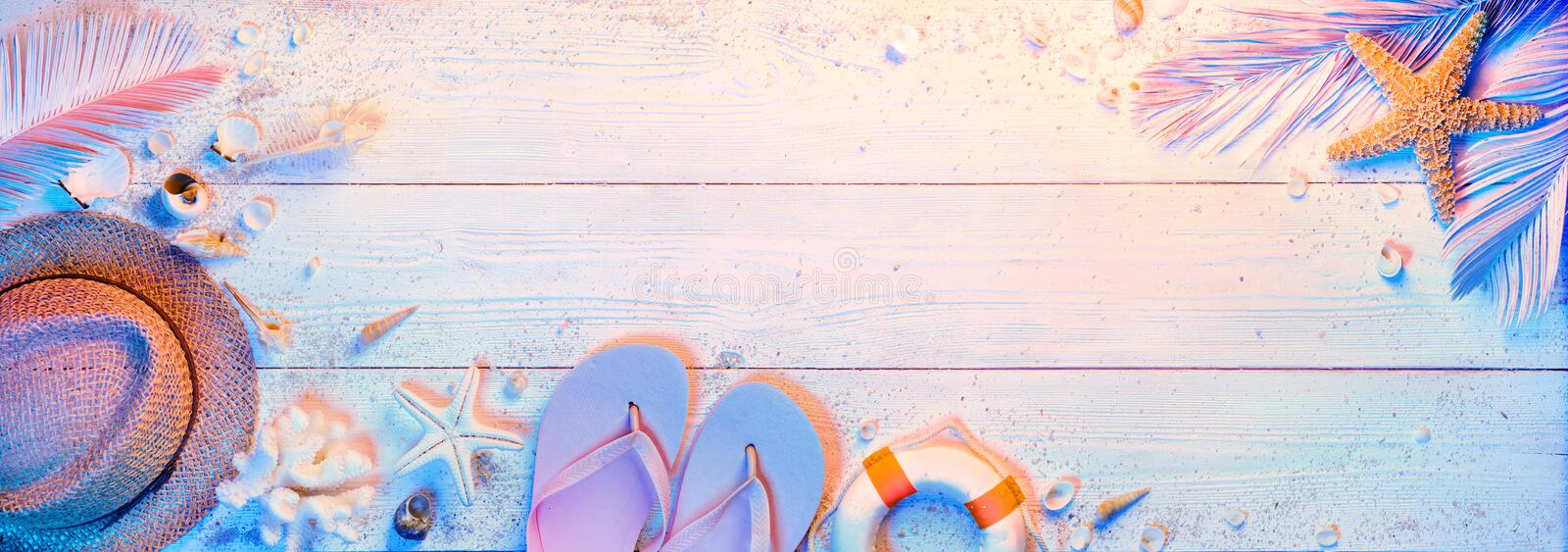 Summer Minimal Design With Beach Accessories stock image