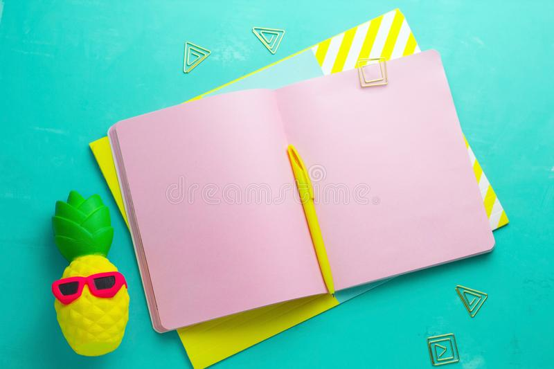 summer mock up , open notepad with blank pink paper sheets,yellow pen and squishy anti stress toy pineapple in royalty free stock photos