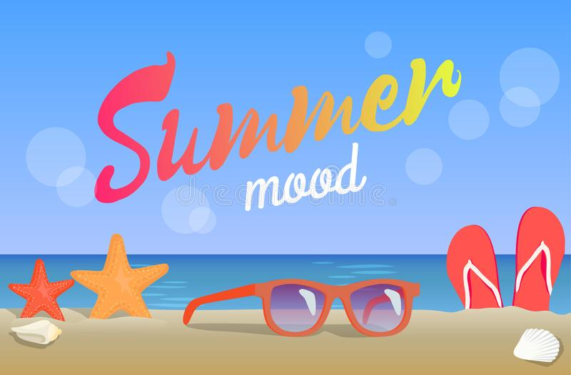 Summer Mood, Beauty Seascape, Colorful Banner stock illustration