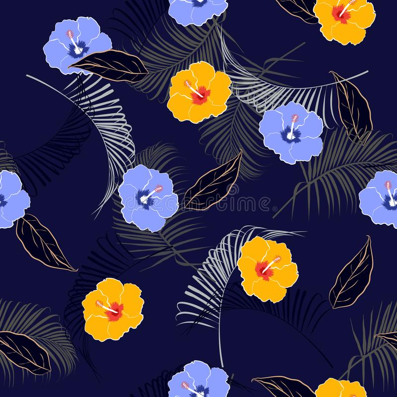 Summer mood seamless vector floral pattern,Dark on navy blue background with tropical flowers, palm leaves, jungle leaf, hibiscus, royalty free illustration