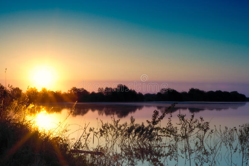 Summer morning Landscape. Beautiful summer morning in the river landscape royalty free stock photography