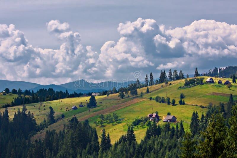 Summer morning mountain landscape stock photos
