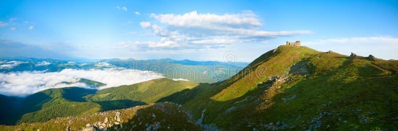 Summer morning panorama on Pip Ivan mountain stock photo