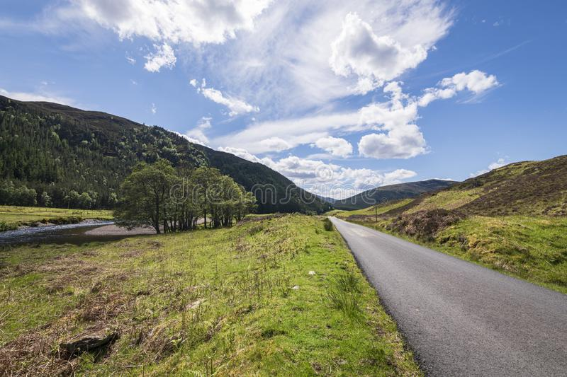 Pastoral Strathconon. A summer morning road trip through pastoral Strathconon, Ross and Cromarty, Scotland stock images