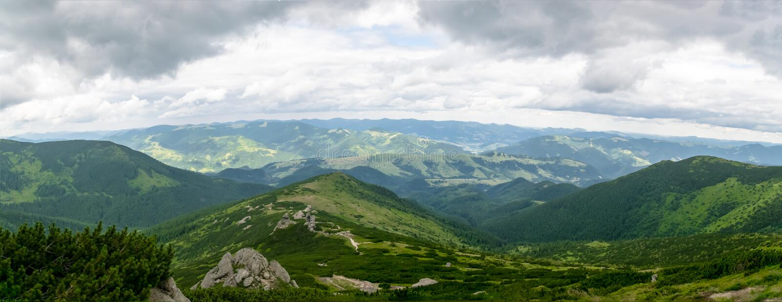 Summer mountain landscape panorama royalty free stock photo
