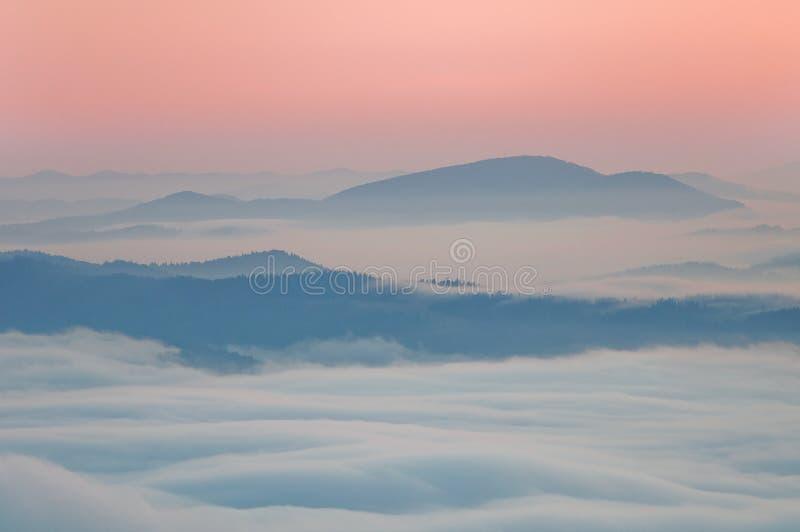 Summer mountain landscape with the sea fog. Carpathian Mountains, Ukraine stock images
