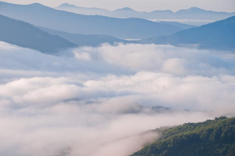 Summer mountain landscape with the sea fog. Wonderful world. Summer mountain landscape with the sea fog stock images