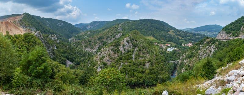 Summer mountain panorama Uzice town outskirts, Serbia stock photography