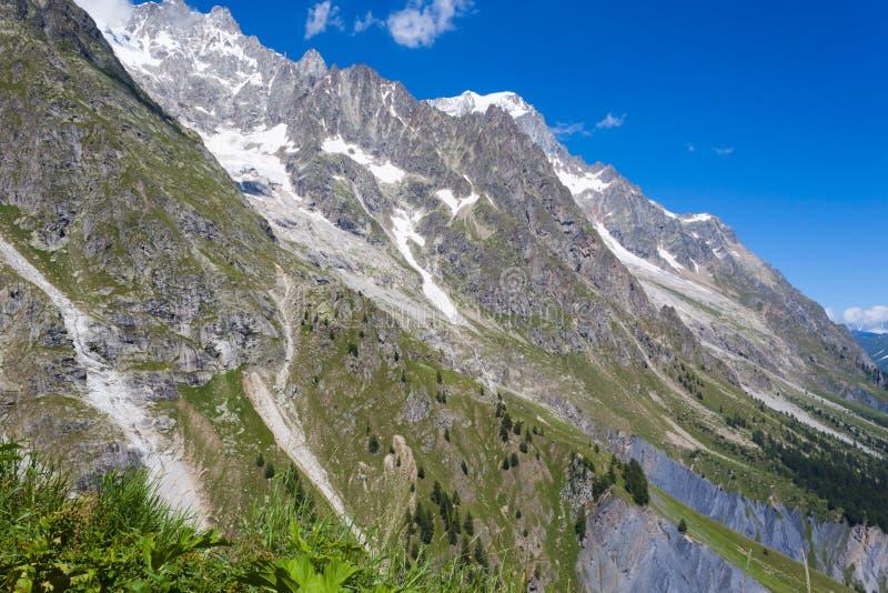 Slopes of Mount Blanc Massif - Summer Mountain stock images
