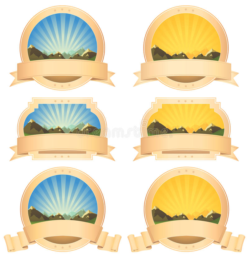 Download Summer Mountains Banner And Scroll Ribbons Stock Vector - Illustration of relief, season: 24204551