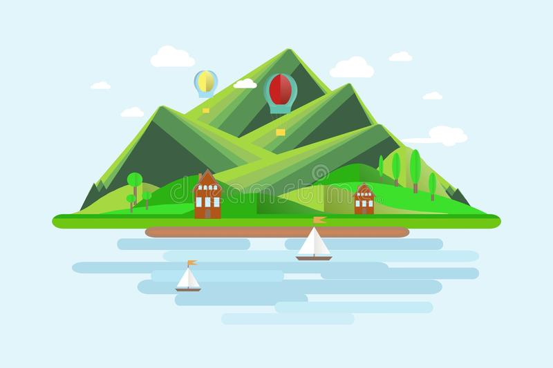 Summer mountains landscape. Green hills, blue sky, white clouds, green trees, mountain shelters, sailboats, balloons. Flat design stock vector illustration vector illustration