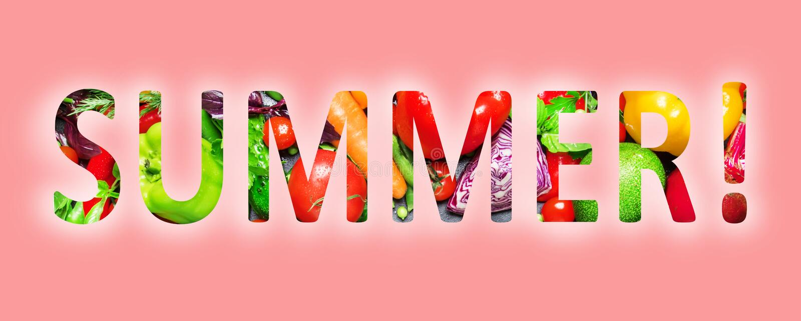 Summer, multi-colored text cut out of vegetables photo, the inscription on pink background. Summer, multi-colored text cut out of vegetables photo, the vector illustration