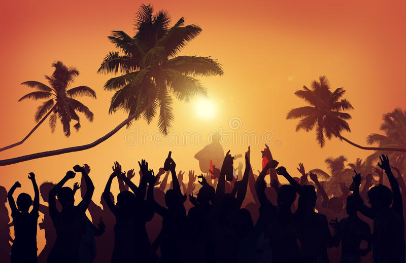 Summer Music Festival Beach Party Performer Excitement Concept.  royalty free stock photography