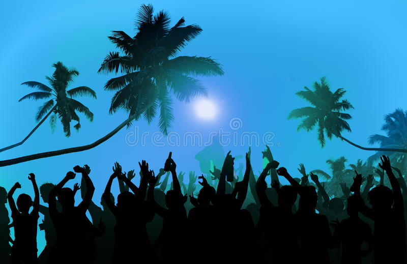 Summer Music Festival Beach Party Performer Excitement Concept royalty free stock photos