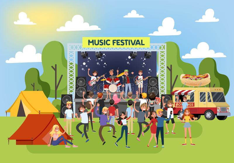 Summer music festival outdoor. Crowd of people dance vector illustration