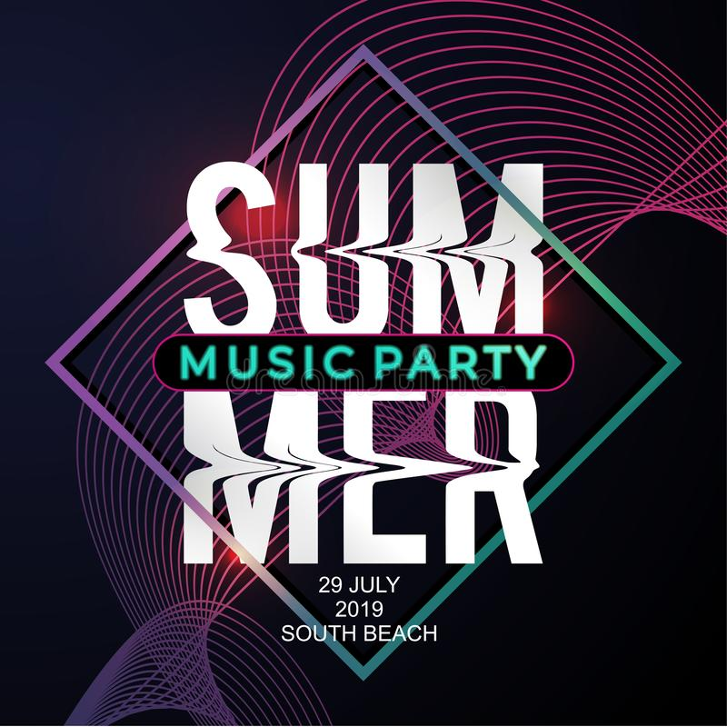 Summer music party banner template geometric abstract decoration modern neon background vector illustration