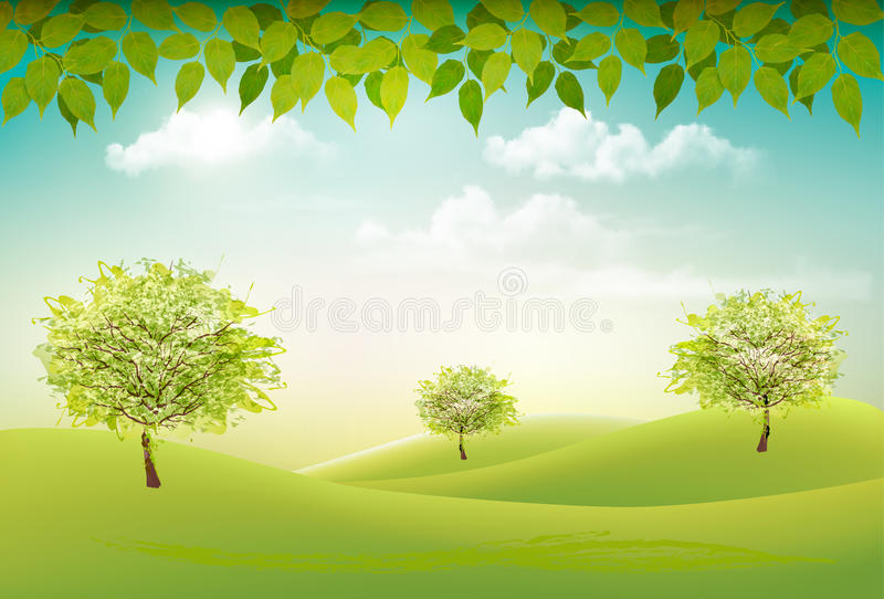 Summer nature background with a green trees and landscaper. Vector royalty free illustration