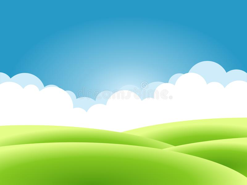 Summer nature background, a landscape with green hills and meadows, blue sky and clouds. royalty free illustration