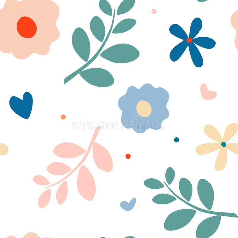 Free Summer Nature Motif Seamless Pattern. Daisy, Twigs, Petals And Leaf. Stock Image - 211330221