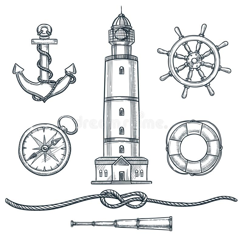 Summer nautical vintage icons set. Vector hand drawn sketch illustration. Sea and marine isolated design elements vector illustration