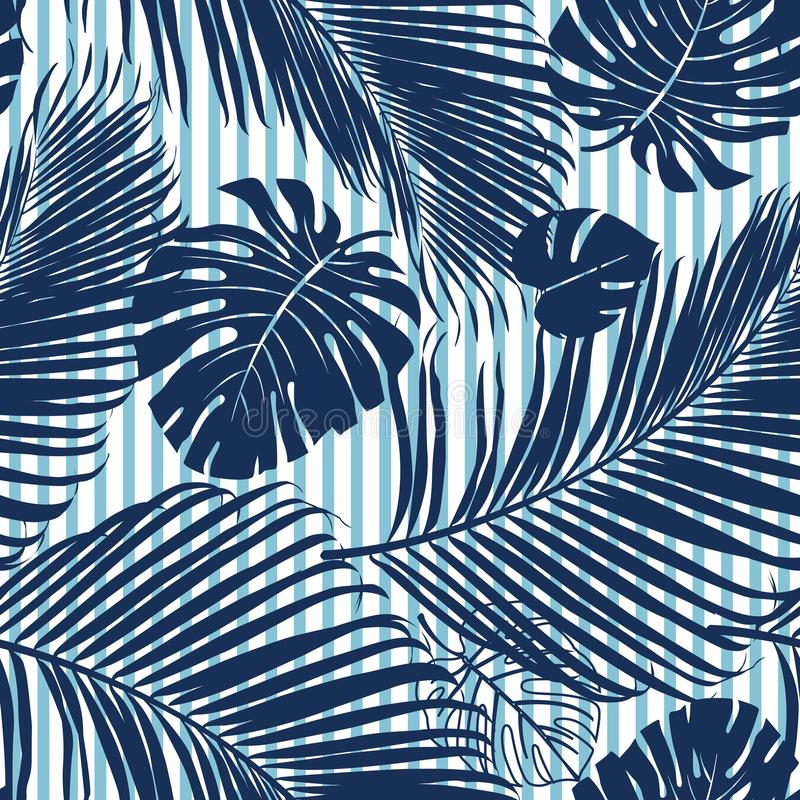 Summer Navy blue tropical forest leaves bright mood on sky blue stripe seamless pattern fashoin fabric, wallpaper and card. vector illustration