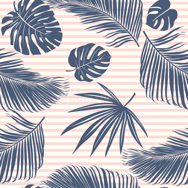 Summer Navy pink tropical forest leaves bright mood on sky blue stripe seamless pattern for fashoin fabric, wallpaper and card. vector illustration