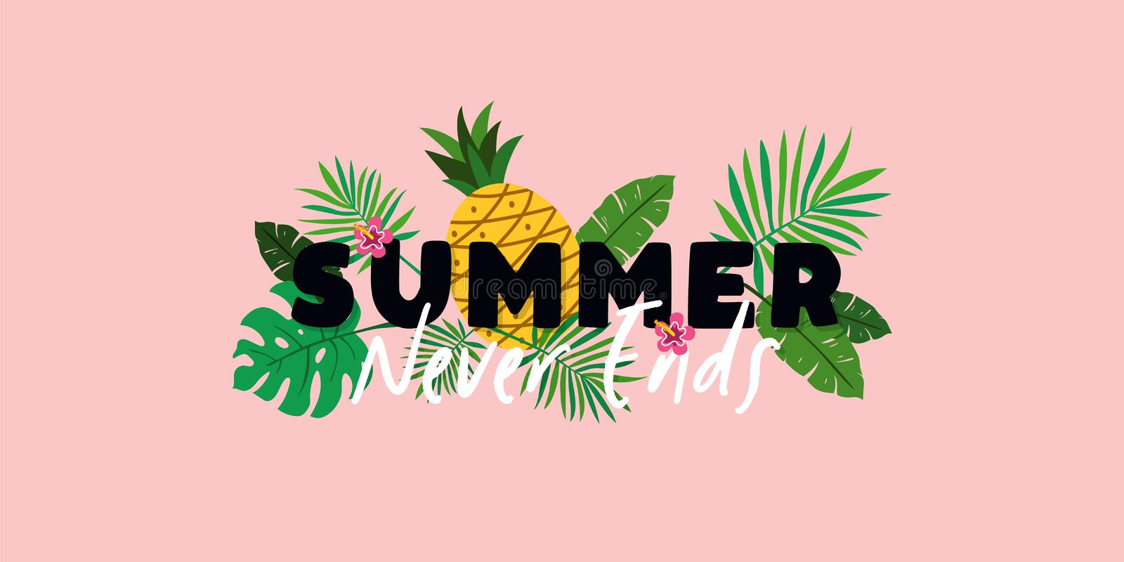 Summer Never Ends typography text banner poster with pineapple fruit and tropical plant leaves background vector illustration vector illustration