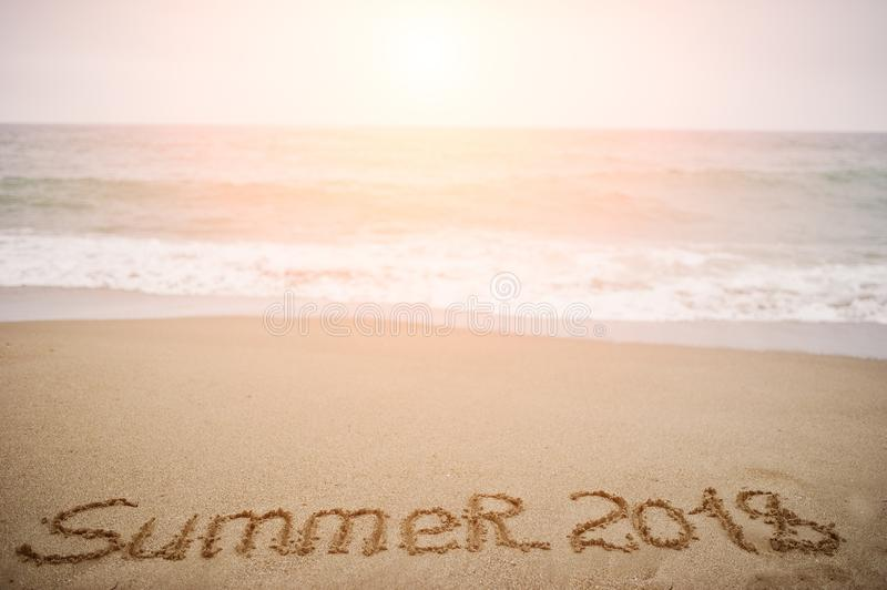 Download Summer 2018. New Year 2018 Is Coming Concept. Sea And Sand. Stock
