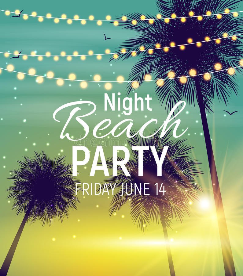 Summer Night Beach Party Poster. Tropical Natural Background wi. Th Palm. Vector Illustration EPS10 vector illustration