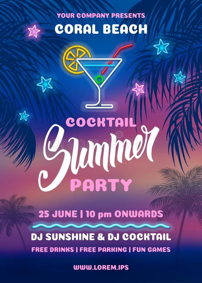 Summer Night Party Poster Template vector illustration