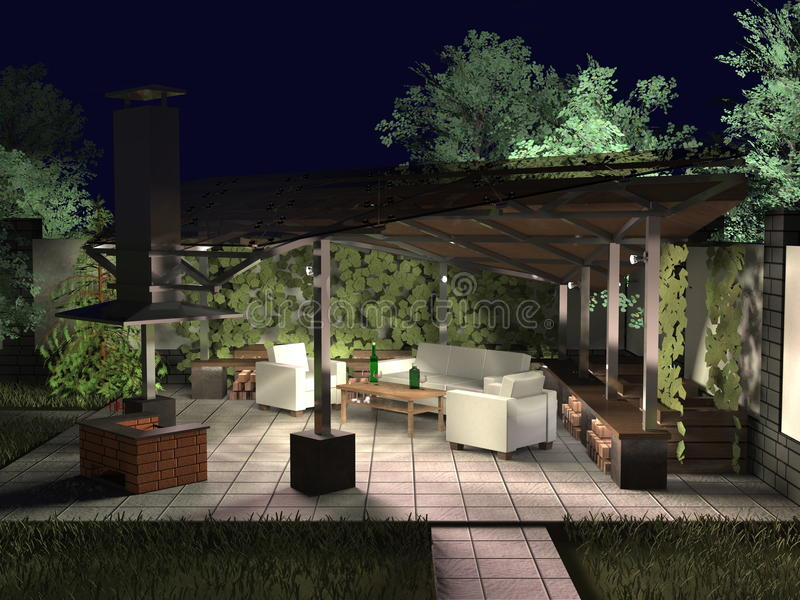 Summer night in the gazebo royalty free stock images