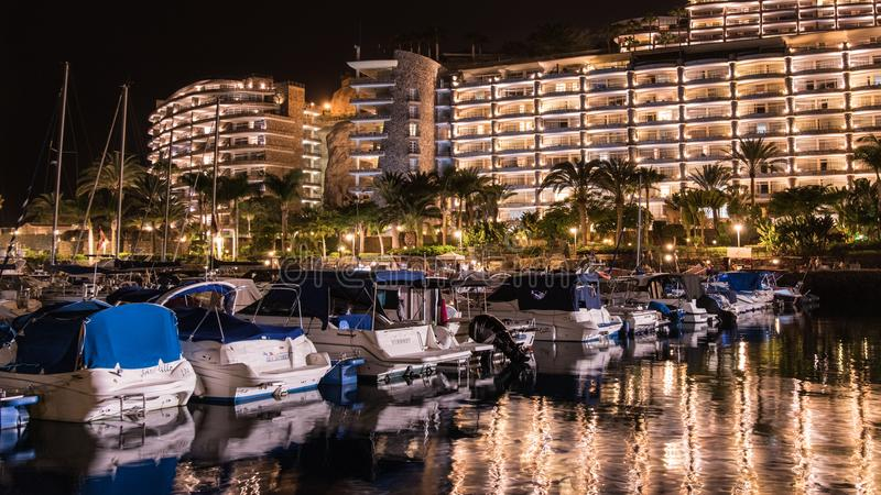 Summer night on the island of Gran Canaria Spain stock image