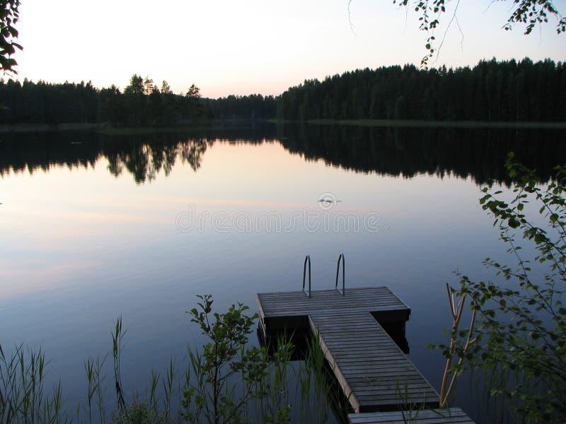 Summer Night at Lake stock photography