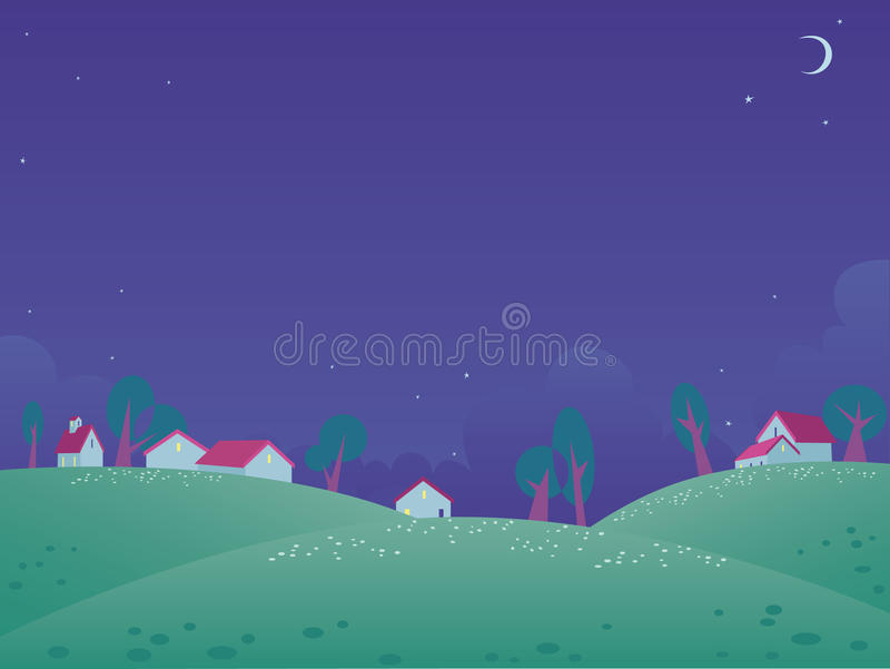 Download Summer night landscape stock vector. Image of chamomile - 9511781
