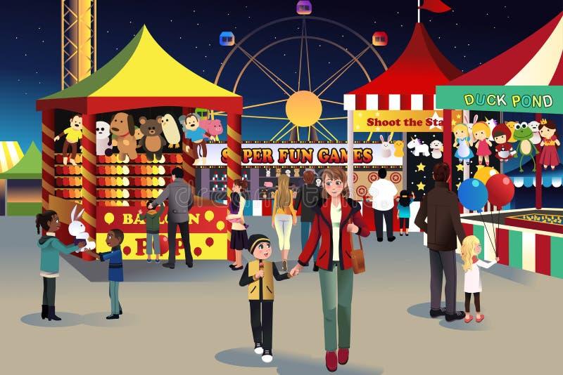 Summer night outdoor fair vector illustration
