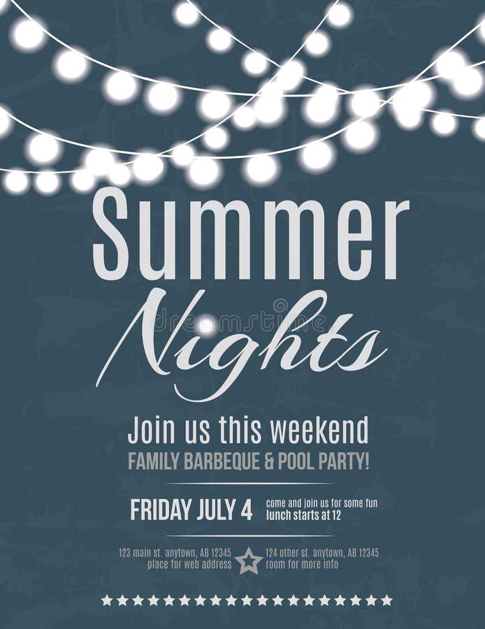 Summer night party invitation. Elegant summer night party invitation flyer template vector illustration