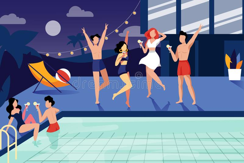 Summer night pool party. Happy young people have a rest by the swimming pool. Vector flat illustration stock illustration