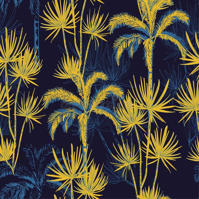 Summer night tropical hand drawn doodle line sketch plam and coconut trees ,island design fot fashion,fabric, and all prints. On navy blue background color vector illustration