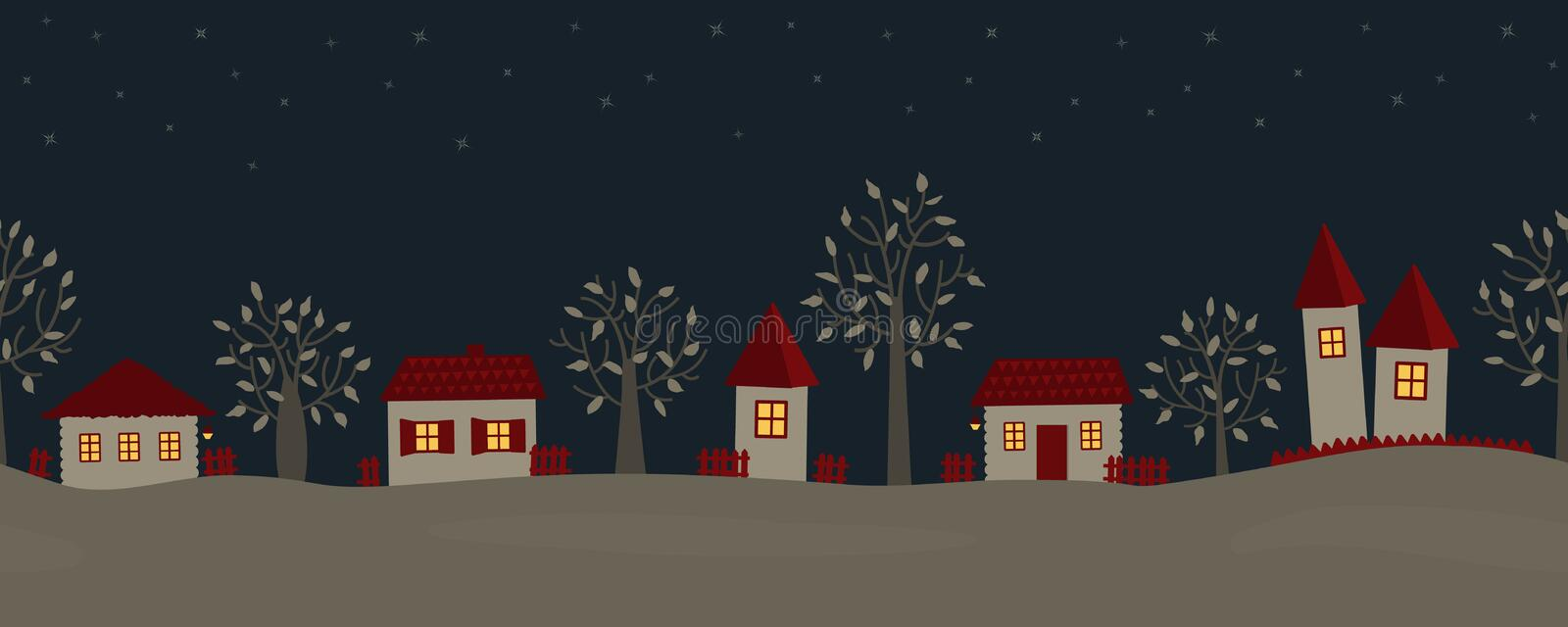 Summer night in the village. Country landscape royalty free illustration